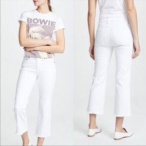 Alice + Olivia Cropped Kick White Jeans
